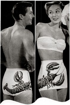 His & hers matching Catalina lobster bathing swim suits...SWEET !!