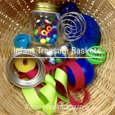 Infant Treasure Baskets Sensory Table, Sensory Play, Treasure Basket, Foam Letters, Vocabulary Building, Wooden Shapes, How To Gain Confidence, Baby Learning, Different Textures