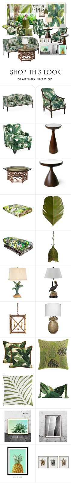 """""""Tropical Prints"""" by marionmeyer ❤ liked on Polyvore featuring interior, interiors, interior design, home, home decor, interior decorating, Americanflat, Michael Thomas Collection, Society Social and Jonathan Adler"""