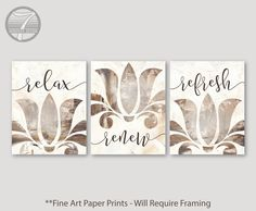 Bathroom Art Prints Relax Renew Refresh Abstract Floral Set of or Neutral Modern Home Unframed Fine Art Prints Bathroom Wall Art, Home Wall Art, Elegant Bathroom Decor, Wall Art Prints, Fine Art Prints, Custom Art, Fine Art Paper, Relax, Design