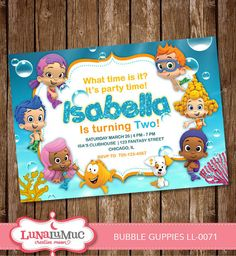 BUBBLE GUPPIES Invitation Water Blue Card Party by Lunalumuc