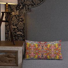 Kissen • Vincent – Variation 1, gelb, grau, orange, rot • Design Samba, Bunt, Tapestry, Orange, Pillows, Home Decor, Peace Dove, Pillow Design, Unique Gifts