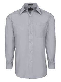 674bf429360 Classic Fit Dress Shirt with Convertible Cuffs - Silver M... https