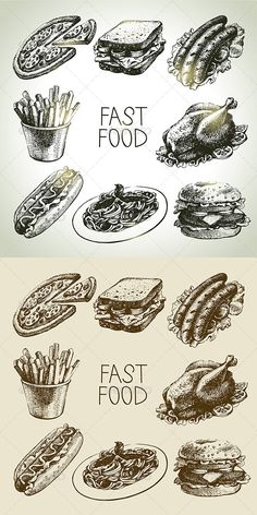 Fast Food Hand Drawn Set - Food Objects