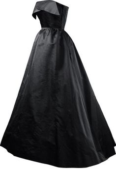 Balencaiga NOCHE  Evening dress in black satin  1951 Worn by Paquita Aguirre.