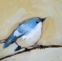 cerulean warbler open edition print 4 x 4 inches door prattcreekart, $7.00