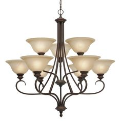 Golden Lighting Lancaster 2 Tier - 9 Light Chandelier in Rubbed Bronze with Antique Marbled Glass
