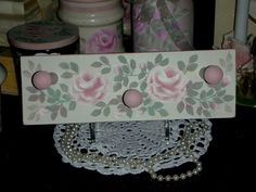 """3 PEG RACK 11x3.5x.75"""" ej pink roses shabby chic cottage handmade hand paint cr4 #Handmade #french country #shabby #cottage #hand painted"""