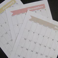 Bullet Journal Calendar Pages - January 2015 through December 2015 - for Moleskine XL