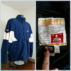 EUC STX GORETEX LARGE Jacket Coat COLOR BLOCK Navy Blue / White MADE IN CANADA #STX #Rainwear