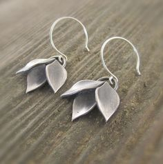 Modular Modern Leaf Cluster Dangle Sterling Silver Earrings by Kelly Gilligan More