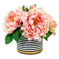 The Difference Between Fake Flowers and Faux Florals: Peonies in a Striped Vase