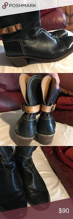 Frye Ankle Boot Black Frye ankle boot with tan strap with buckle. Heels do need resoled. Having them resolved won't cost much at all. Other than that they are in great condition. Price will reflect this. Frye Shoes Ankle Boots & Booties