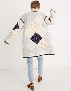 Madewell x The New Denim Project® Patchwork Cocoon Coat in white skinny stripe image 3 Patchwork Quilt Patterns, Patchwork Dress, Textiles, Quilted Clothes, Mexican Outfit, Pin On, Vintage Quilts, Madewell, Skinny