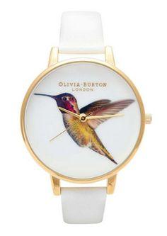 Olivia Burton  Hummingbird Watch - Gold & White