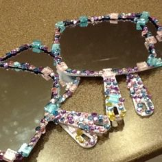 Blinged-out mirrors we made for Ainsley's spa sleepover party!