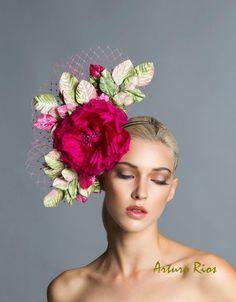 Fascinator fuchsia-vert-rose, casque, chapeau Derby Fascinator - printemps