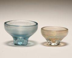 Venini corroso iridato Murano art glass bowls, designed by Carlo Scarpa