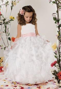 Abito da ragazza di fiore decorato Organza Fluffy Senza Maniche
