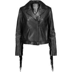 Haute Hippie Fringed leather biker jacket ($510) ❤ liked on Polyvore featuring outerwear, jackets, black, ruffle jacket, leather biker jackets, fringe motorcycle jacket, fringed leather jackets and genuine leather biker jacket