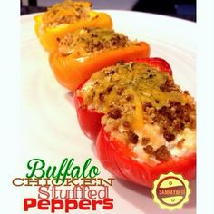 Buffalo Chicken Stuffed Peppers - because what doesn't buffalo chicken go good with? These peppers are stuffed with buffalo chicken, garbanzo beans, and topped with a crispy crust of cheese and panko breadcrumbs. Top Recipes, Mexican Food Recipes, Cooking Recipes, Healthy Recipes, Healthy Meals, Healthy Eating, Meal Recipes, Healthy Mind, Healthy Cooking