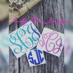 Glitter Monogram Decal, Monogram Sticker, Circle Font, Vine Font, Fancy Font, Your Choice of Color, Glitter Car Decal, Monogram For Her. by RustyPeachDesigns on Etsy