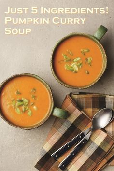 5-Ingredient Pumpkin Curry Soup (Slow Cooker Recipe) - Thai inspired and oh-so-easy! Just 5 minutes of prep! Naturally dairy-free, gluten-free and optionally vegan / paleo.