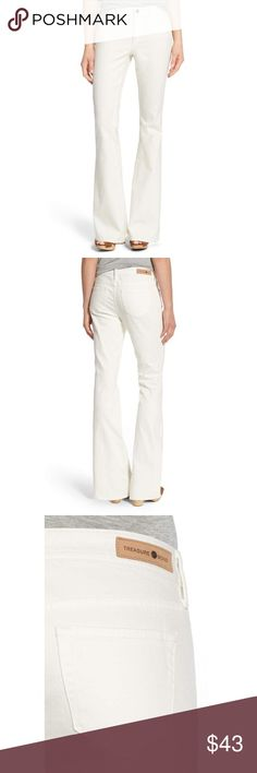 """🎀Treasure & Bond Flare Jeans 26"""" waist  33 1/2"""" inseam  22"""" leg opening  9 1/2"""" front rise  14 1/2"""" back rise  Zip fly with button closure. Five-pocket style. 98% cotton, 2% spandex. Machine wash cold, tumble dry low. By Treasure&Bond; imported.  Color: ivory Treasure & Bond Jeans Flare & Wide Leg"""