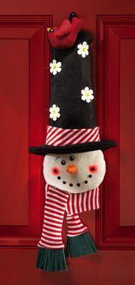 Snowman Lighted Christmas Door Hanging Greeter