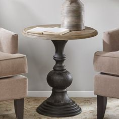 Paris Solid Wood Pedestal End Table Round End Tables, Marble End Tables, Round Wood Coffee Table, Diy End Tables, Metal End Tables, Round Accent Table, Coffee Table Tray, Living Room End Tables, End Tables With Storage