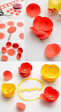 Fleurs décoratives en papier                                                                                                                                                                                 Plus Paper Flower Tutorial, Paper Roses, Paper Flowers Diy, Handmade Flowers, Fabric Flowers, Flower Crafts, Flower Art, Origami Paper, Diy Paper