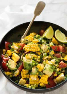 Jump to Recipe Print RecipeA simple, super tasty Corn Salad made with fresh or canned corn, avocado and juicy tomatoes, finished with a fresh lime dressing.Extra recipe for today! This is an extra recipe...Read More »