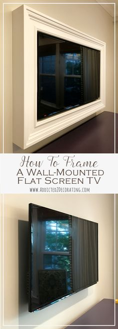 Custom DIY Frame For Wall-Mounted TV - Finished Living Room Remodel Before and After - Diy Home Decor Crafts Deco Tv, Diy Home Decor For Apartments, Hidden Tv, Tv In Bedroom, Diy Bedroom, Bedroom Corner, Master Bedrooms, Framed Tv, Wall Mounted Tv