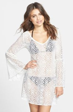 PILYQ 'Riley Royal' Lace Cover-Up Tunic Dress available at #Nordstrom