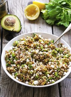 Green Goddess Quinoa Salad with Feta Cheese | Celery, Green Olines, Parsley, Mint, Avocado, Feta, Lime