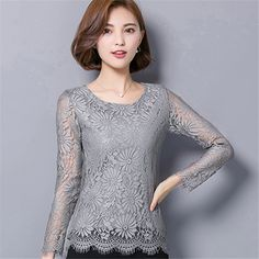 73ea222a73494 Check current price Women Clothing 2017 Autumn New Long-sleeved Lace Blusas  Elegance Plus Size