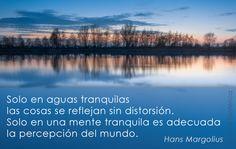 """""""Solo en aguas tranquilas las cosas se reflejan sin distorsión. Solo en una mente tranquila es adecuada la percepción del mundo"""" #Frases #HansMargalius"""