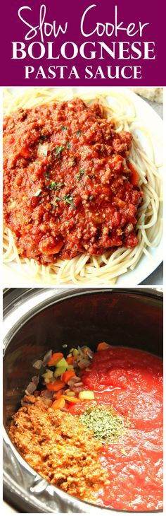 Slow Cooker Bolognese Sauce Recipe - the best pasta sauce ever! Rich and deep in flavor pasta sauce cooked in a crock pot, served over spaghetti and topped with Parmesan.