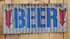 Upcycled old Corrugated Metal Beer with Arrow by RockinBTradingCo, $28.00