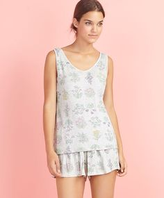 Sleeveless floral ribbed t-shirt, null€ - null - Find more trends in women fashion at Oysho . Sleepwear & Loungewear, Spring Summer Fashion, Beachwear, Lounge Wear, Floral, Sportswear, Swimsuits, Rompers, Gowns