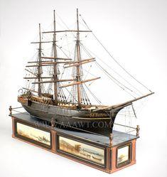 Antique Ship Model, B.F. Butler, Lowell, Massachusetts, angle view