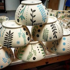 """""""Piles of bisqueware all washed up and headed for a glazy weekend at the studio #glazetime #bisqueware #ceramicprocess #bigbowls #plantlove #baysideclay…"""""""