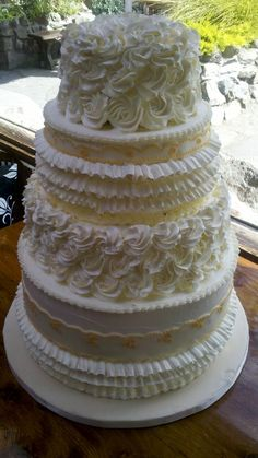 Ruffle Rose Wedding Cake — Italian meringue frosting and design with fondant lace