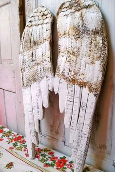 (1) White Angel wings large wood carved wall sculpture hand painted rusty metal distressed French decor shabby accents home decor Anita Spero on Wanelo
