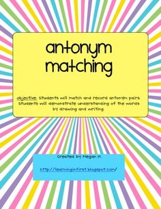 This is an antonym activity that is used for word work. Students match the antonym eggs and record their work.