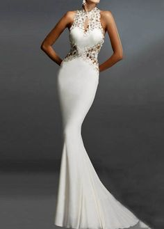 White Lace Panel Open Back Mermaid Dress