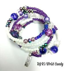 Purple and White Beaded Coil Bracelet by RandRsWristCandy on Etsy, $12.00