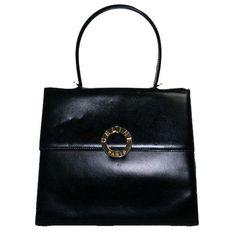 Celine Vintage Black Box Calfskin Kelly Bag