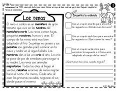 Análisis de texto informativo - Los renos Spanish Class, Reno, Journal, How To Plan, Education, School, Christmas, Animals, Reading Comprehension