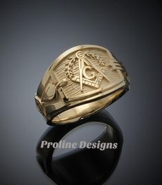 Masonic Symbols, Cigar Band, Hand Cast, Engraved Rings, Beautiful Gift Boxes, Gold Bands, Rings For Men, Jewelry Design, Etsy